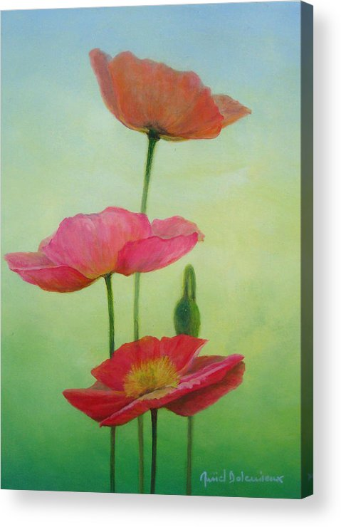 Acrylic Acrylic Print featuring the painting Pavots crescendo by Muriel Dolemieux