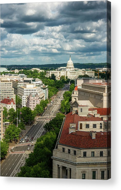 Built Structure Acrylic Print featuring the photograph Pennsylvania Avenue Leading Up To The by Miralex