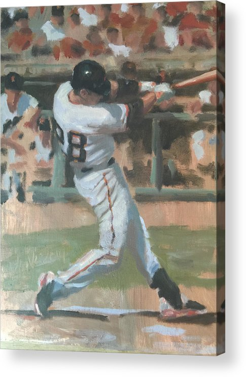 Buster Posey Acrylic Print featuring the painting Posey Shot by Darren Kerr
