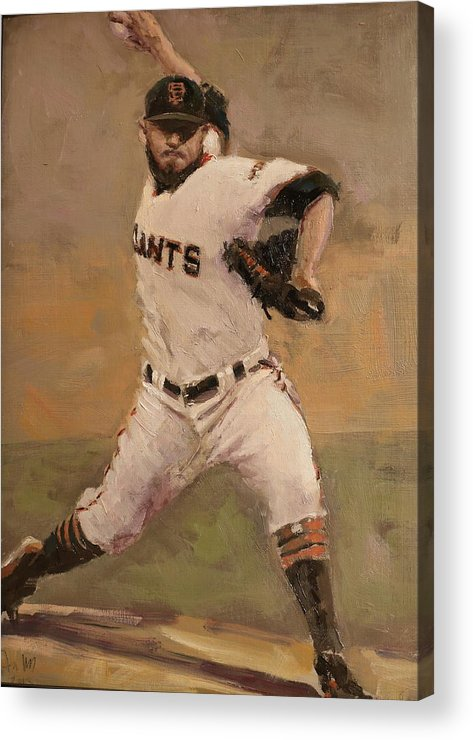Sergio Romo Acrylic Print featuring the painting Romo NLCS Save by Darren Kerr