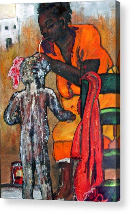 Mom Bathing Boy Acrylic Print featuring the painting Saturday Night Bath by Peggy Blood