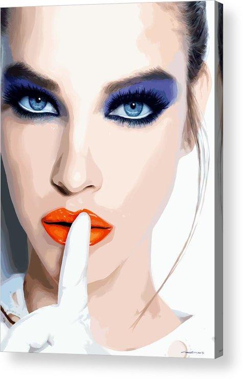 Pretty Girl Acrylic Print featuring the digital art Silence - Pretty Faces Series by Gabriel T Toro