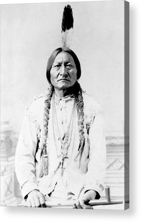 Native American Acrylic Print featuring the photograph Sioux Chief Sitting Bull by War Is Hell Store