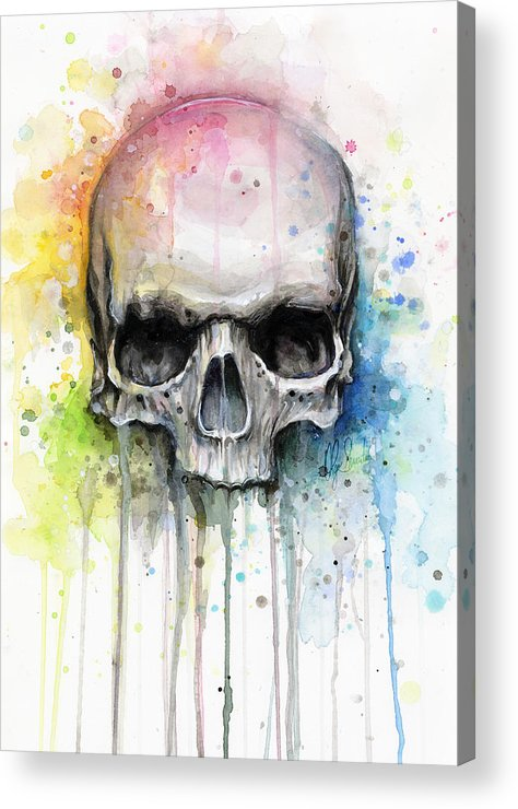 Skull Acrylic Print featuring the painting Skull Watercolor Painting by Olga Shvartsur
