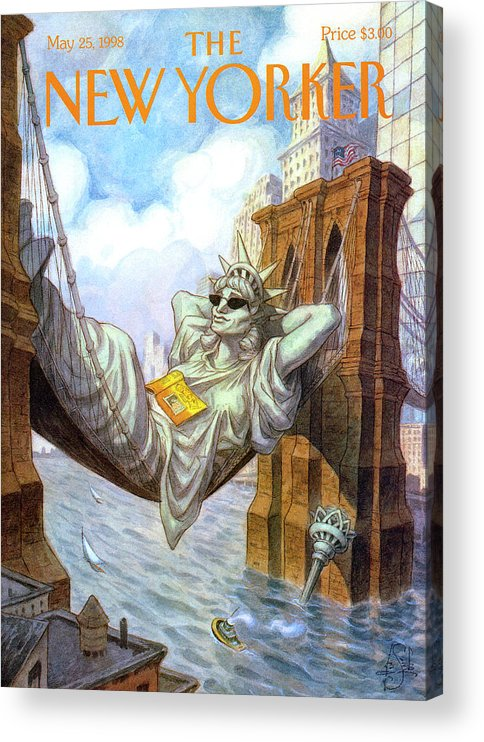 Liberty Acrylic Print featuring the painting Statue Of Liberty Lounges Between The Brooklyn by Peter de Seve