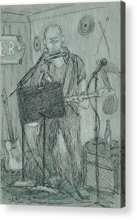 Musician Acrylic Print featuring the drawing The Harp Player by Arthur Barnes