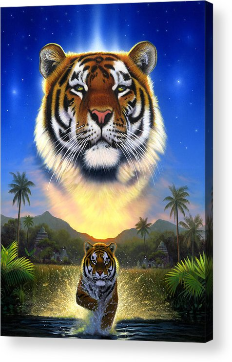 Animal Acrylic Print featuring the photograph Tiger Of The Lake by MGL Meiklejohn Graphics Licensing