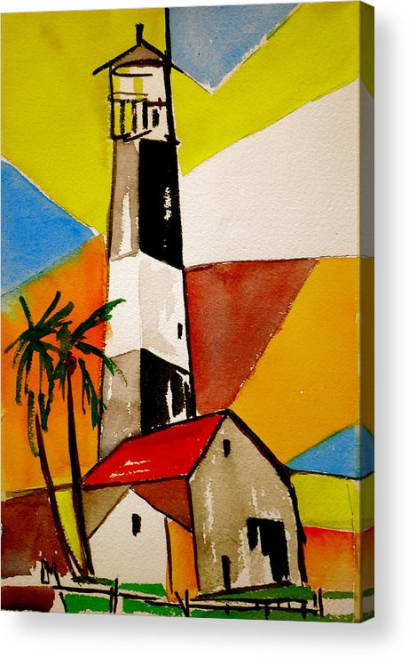 Lighthouse Acrylic Print featuring the painting Tybee Lighthouse by Pete Maier