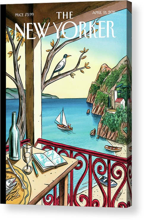 Balcony Acrylic Print featuring the painting Drawing While Waiting by Jacques de Loustal