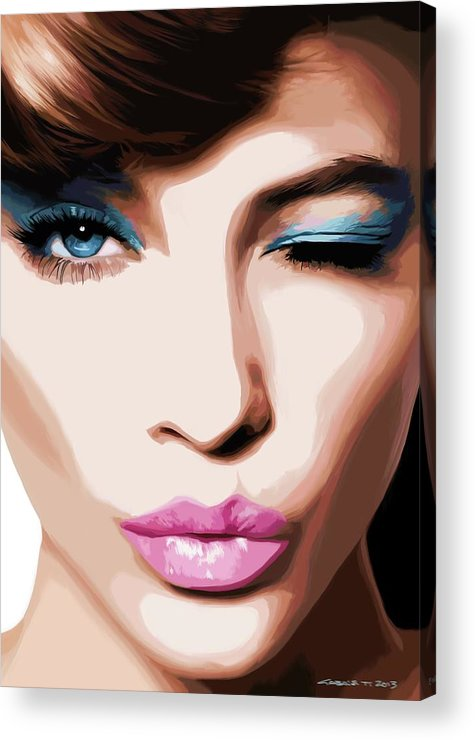 Amazing Girl Acrylic Print featuring the digital art Wink - Pretty Faces Series by Gabriel T Toro