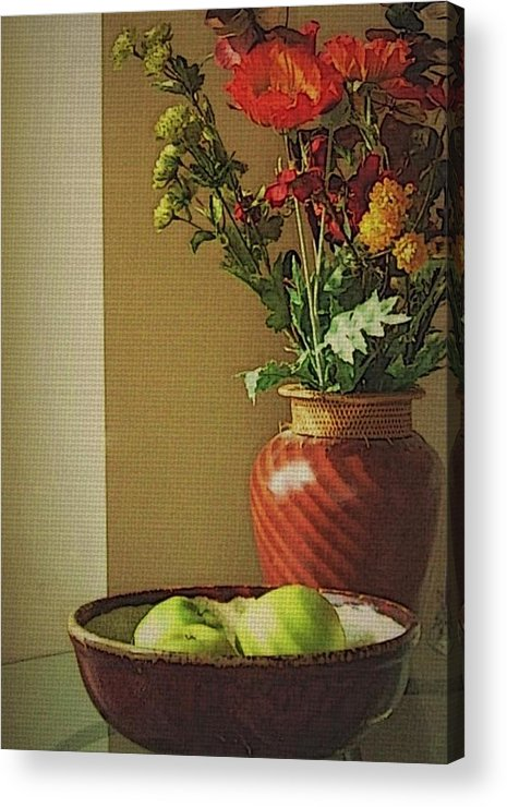 Still Life Acrylic Print featuring the photograph Poppies and apples still life by Joseph Ferguson
