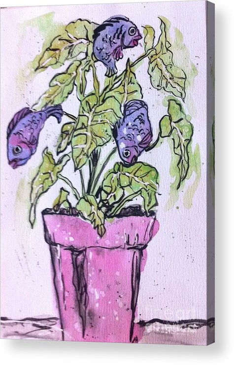 Fun Acrylic Print featuring the painting Potted Fish by Norma Gafford