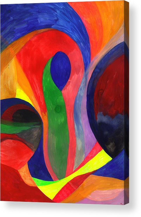 Colorful Acrylic Print featuring the painting Solitude in the Crowd by Peter Shor