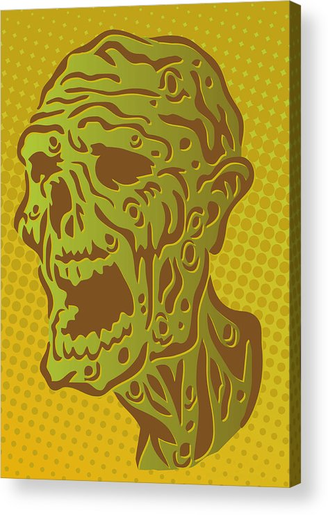 Vertical Acrylic Print featuring the digital art Stylized Zombie by Sam Morrison
