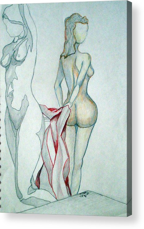Nudes Acrylic Print featuring the drawing 2 Women And A Blanket by Tammera Malicki-Wong
