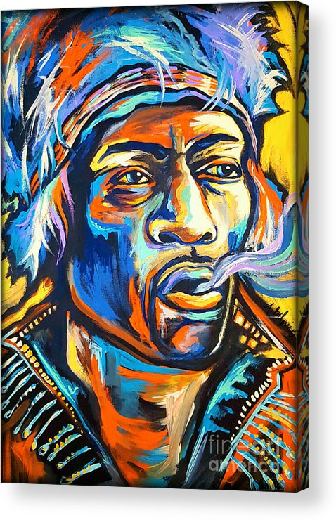 Jimi Acrylic Print featuring the painting Jimi Hendrix by Amy Belonio
