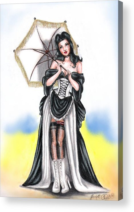 Pin-up Acrylic Print featuring the drawing Miss Flirt by Scarlett Royal