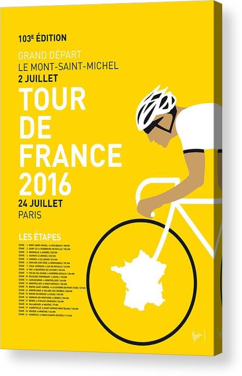2016 Acrylic Print featuring the digital art My Tour De France Minimal Poster 2016 by Chungkong Art