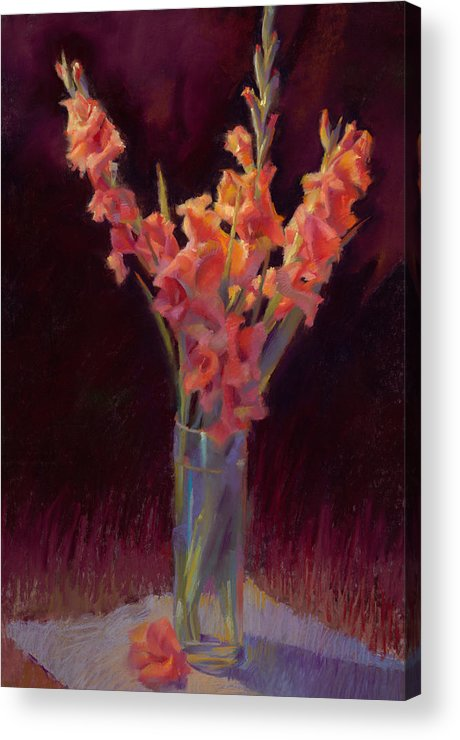 Floral Acrylic Print featuring the painting Orange Gladiolus by Cathy Locke