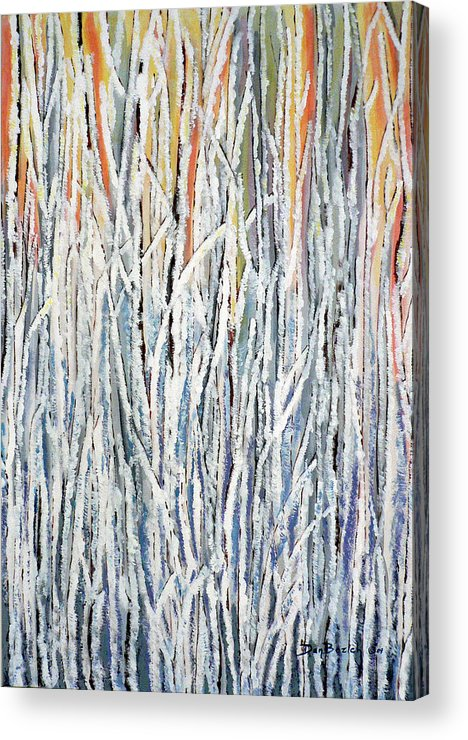 Heavy Frost On Willows Acrylic Print featuring the painting Cold Frosty Morn by Dan Bozich
