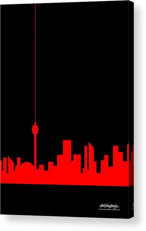 Acrylic Print featuring the painting Toronto Skyline by Asbjorn Lonvig