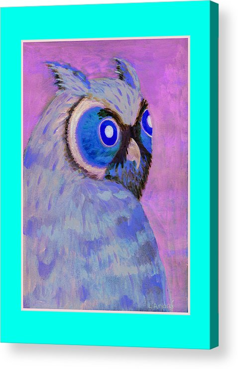 Owl Acrylic Print featuring the painting 2009 Owl Negative by Lilibeth Andre