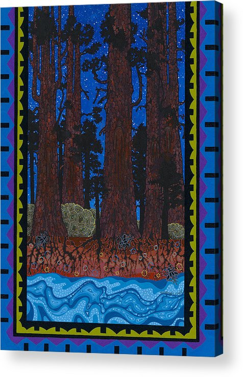 Native American Acrylic Print featuring the painting A Forest Whispers by Chholing Taha