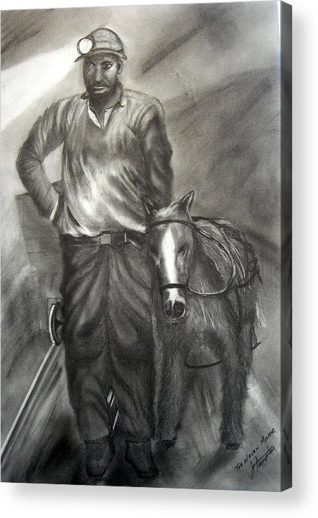 Graphite Drawing Acrylic Print featuring the drawing A Welsh Miner by Jack Hampton