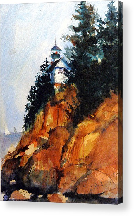 Acadia. Acadian Acrylic Print featuring the painting Acadian Lighthouse by Charles Rowland