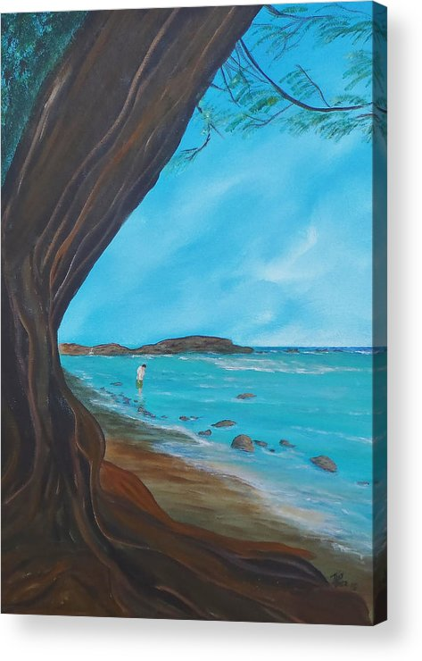 Seascape Acrylic Print featuring the painting Alone on the Beach by Tony Rodriguez