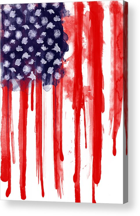 America Acrylic Print featuring the painting American Spatter Flag by Nicklas Gustafsson