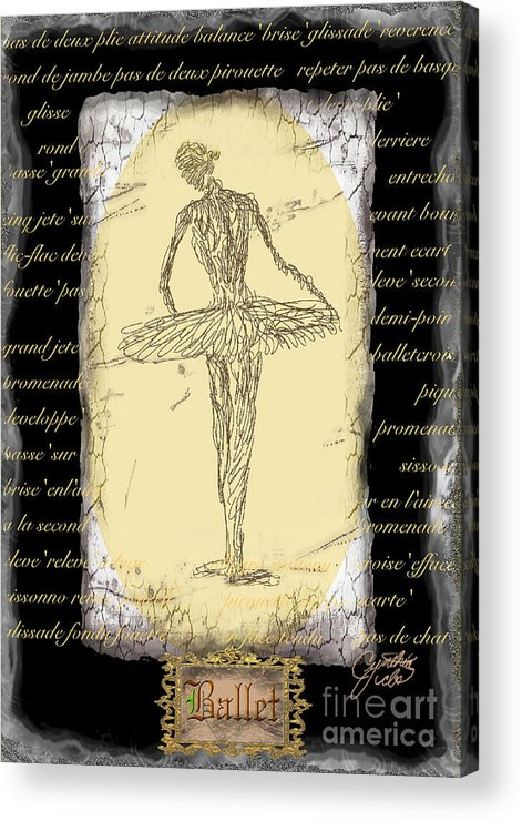 Ballet Acrylic Print featuring the digital art Antique Ballet by Cynthia Sorensen