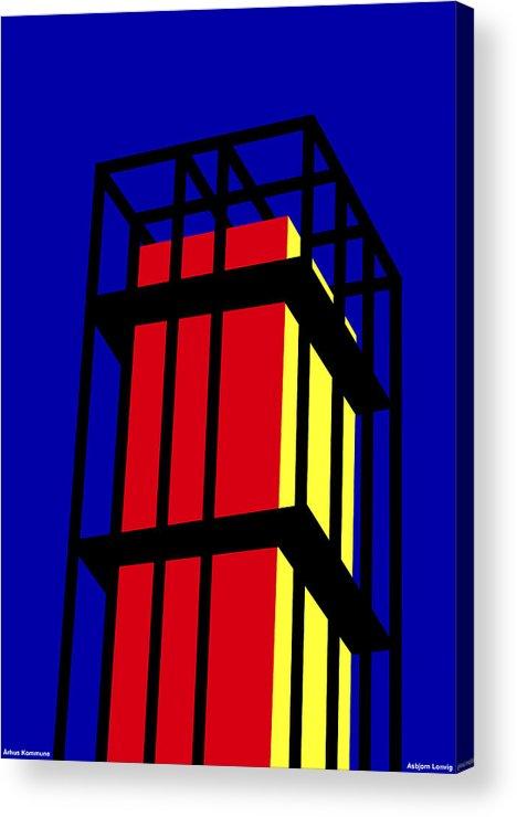 Arne Jacobseb Tower Acrylic Print featuring the digital art Arne Jacobseb Tower by Asbjorn Lonvig