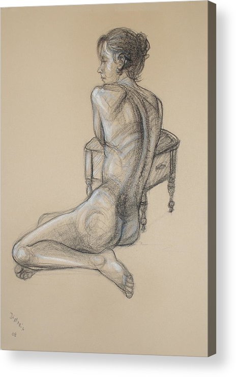 Realism Acrylic Print featuring the drawing Back Nude 2 by Donelli DiMaria