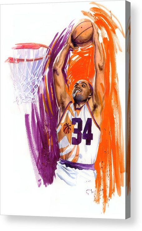 Charles Barkley Acrylic Print featuring the painting Barkley by Ken Meyer jr