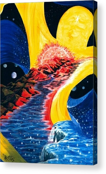 Woman Floating In Space Acrylic Print featuring the painting Beauty Within by Pam Ellis