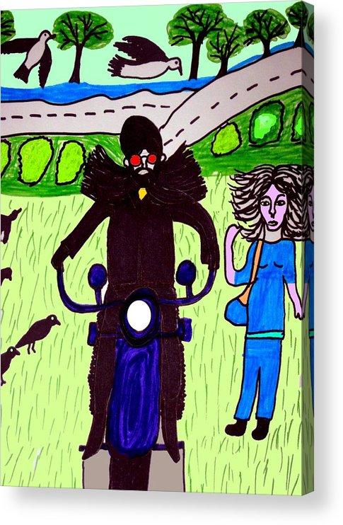 Biker Acrylic Print featuring the digital art Biker Daddy by Betty J Roberts