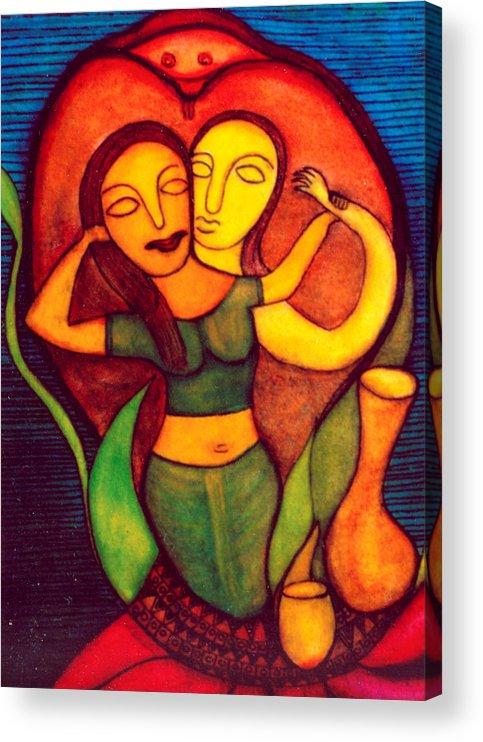 Painting Acrylic Print featuring the painting Birth of Laxmi by Nabakishore Chanda