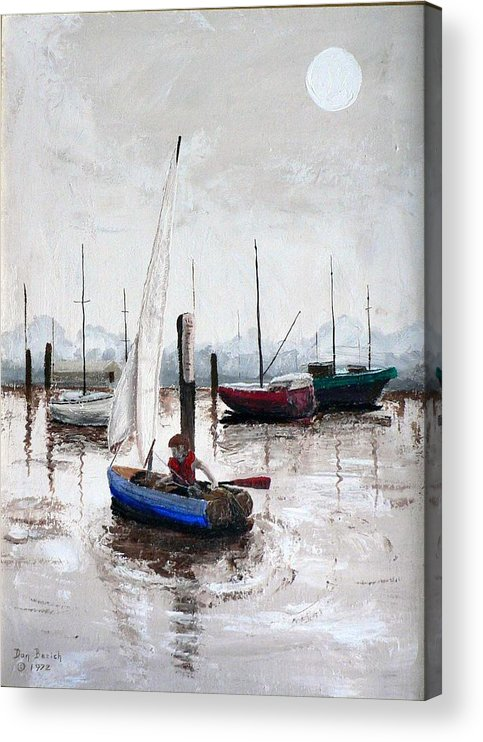 Blue Sailboat Acrylic Print featuring the painting Boy In Blue Sailboat by Dan Bozich