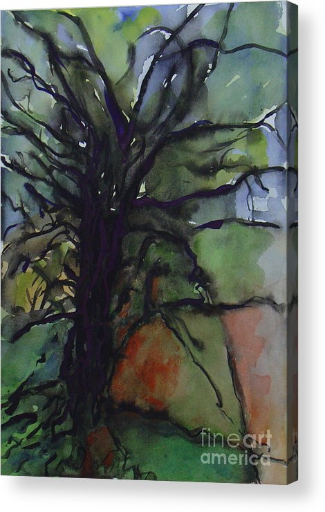 Tree Landscape Abstract Watercolor Original Blue Green Acrylic Print featuring the painting Branching by Leila Atkinson