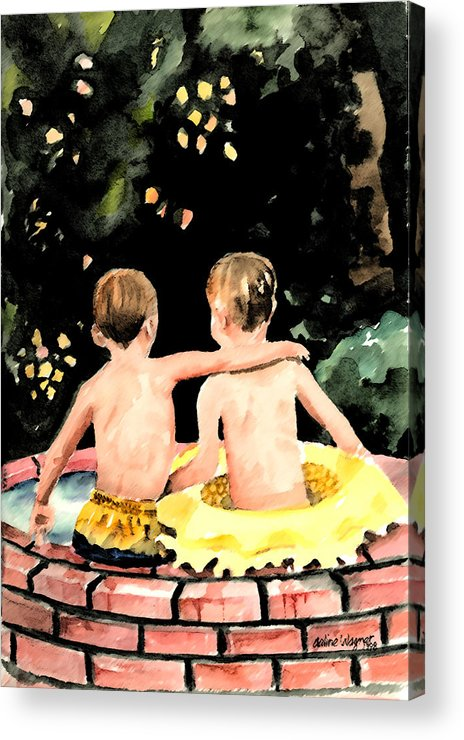 Boys Acrylic Print featuring the painting Buddies by Arline Wagner