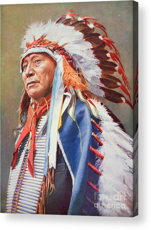 Chief Acrylic Print featuring the painting Chief Hollow Horn Bear by American School