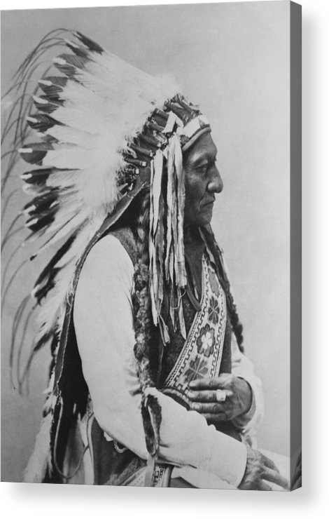 Native American Acrylic Print featuring the photograph Chief Sitting Bull by War Is Hell Store