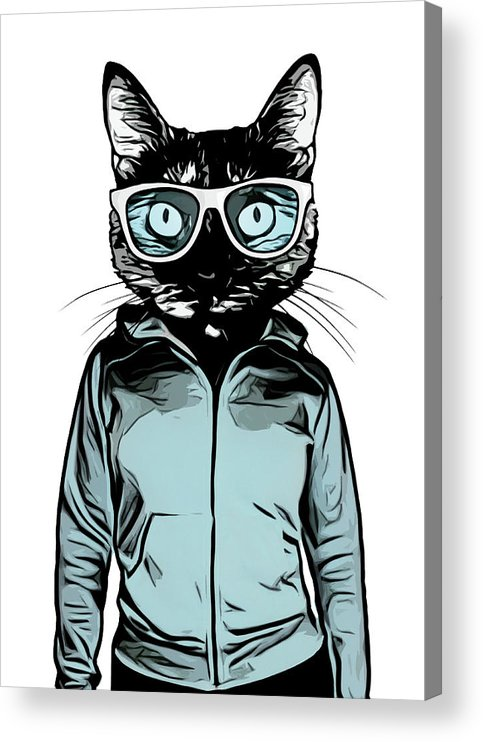Cat Acrylic Print featuring the mixed media Cool Cat by Nicklas Gustafsson