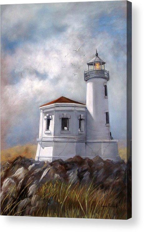 Oregon Lighthouse Acrylic Print featuring the painting Couquille River Lighthouse Bandon Ore. by Lynne Parker