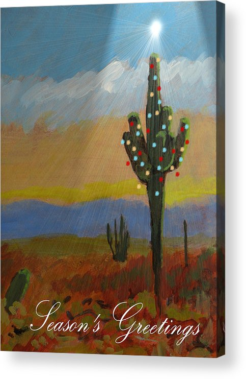 Greeting Acrylic Print featuring the painting Desert Tree Card by Robert Bissett