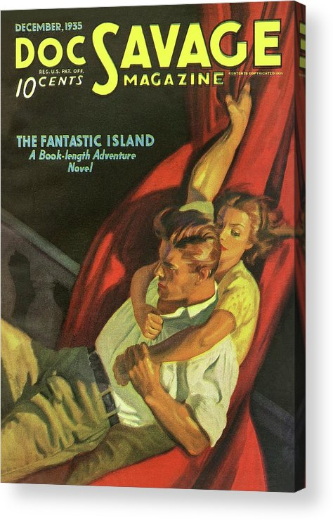 Comic Acrylic Print featuring the drawing Doc Savage The Fantastic Island by Conde Nast