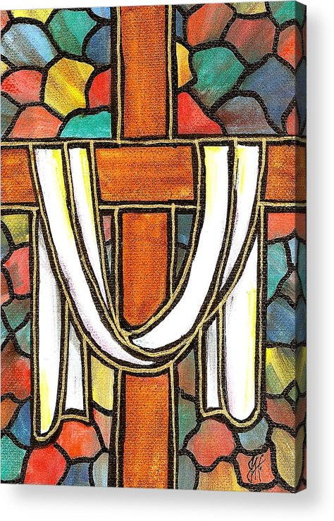 Easter Acrylic Print featuring the painting Easter Cross 6 by Jim Harris