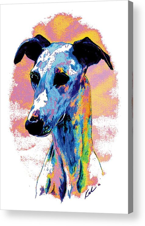 Electric Whippet Acrylic Print featuring the digital art Electric Whippet by Kathleen Sepulveda
