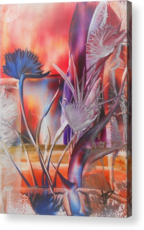 Abstract Floral Acrylic Print featuring the painting Elegant by John Vandebrooke